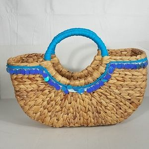 Handbags - Straw Bag with Blue Sequins and Handle